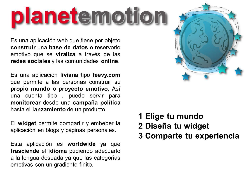 planetemotion 1 Elige tu mundo 2 Diseña tu widget