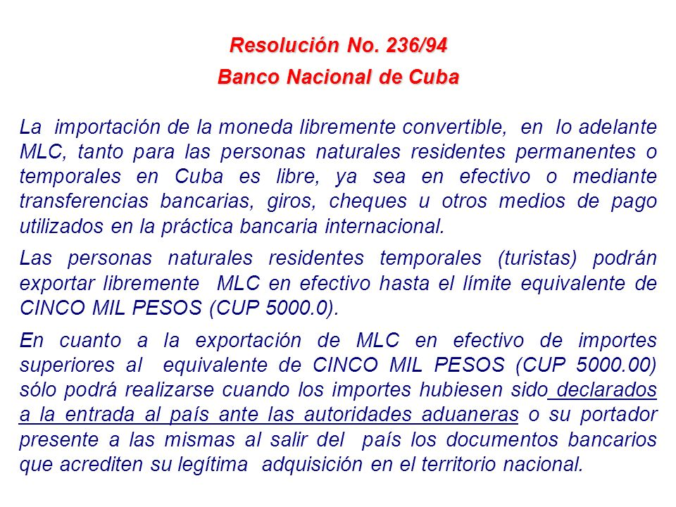 Resolución No. 236/94 Banco Nacional de Cuba.