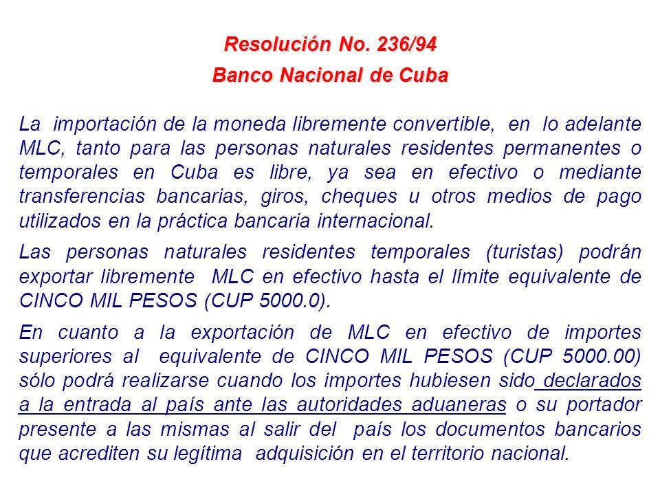 Resolución No. 236/94 Banco Nacional de Cuba.