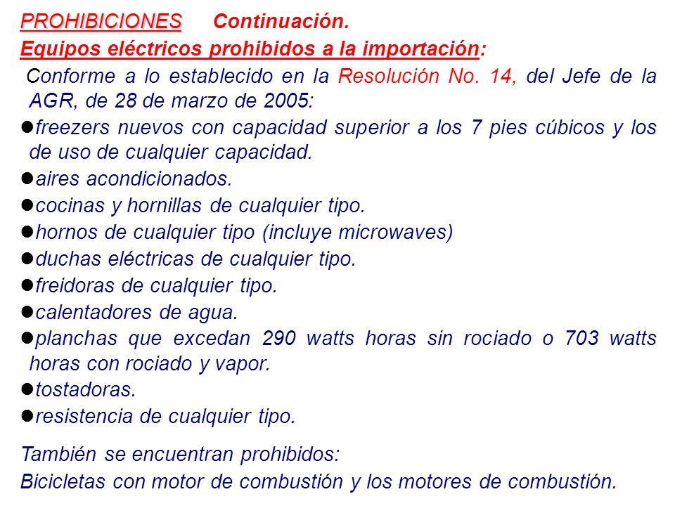 PROHIBICIONES Continuación.