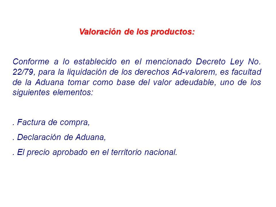 Valoración de los productos: