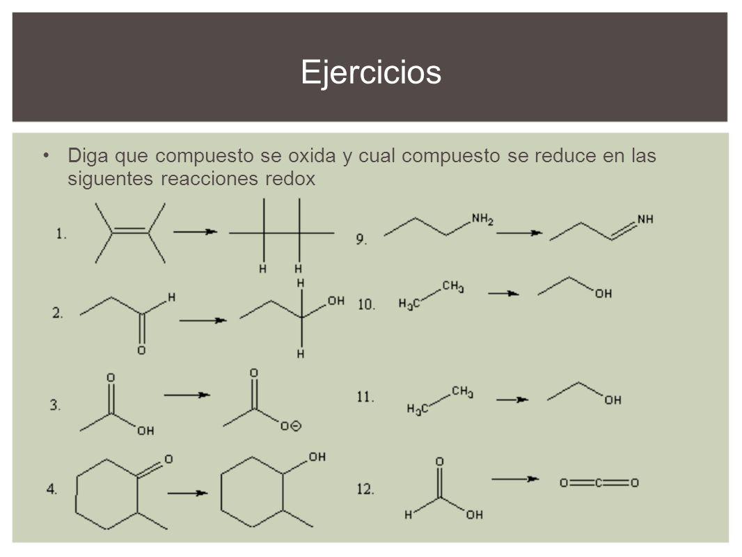 Ejercicios Diga que compuesto se oxida y cual compuesto se reduce en las siguentes reacciones redox