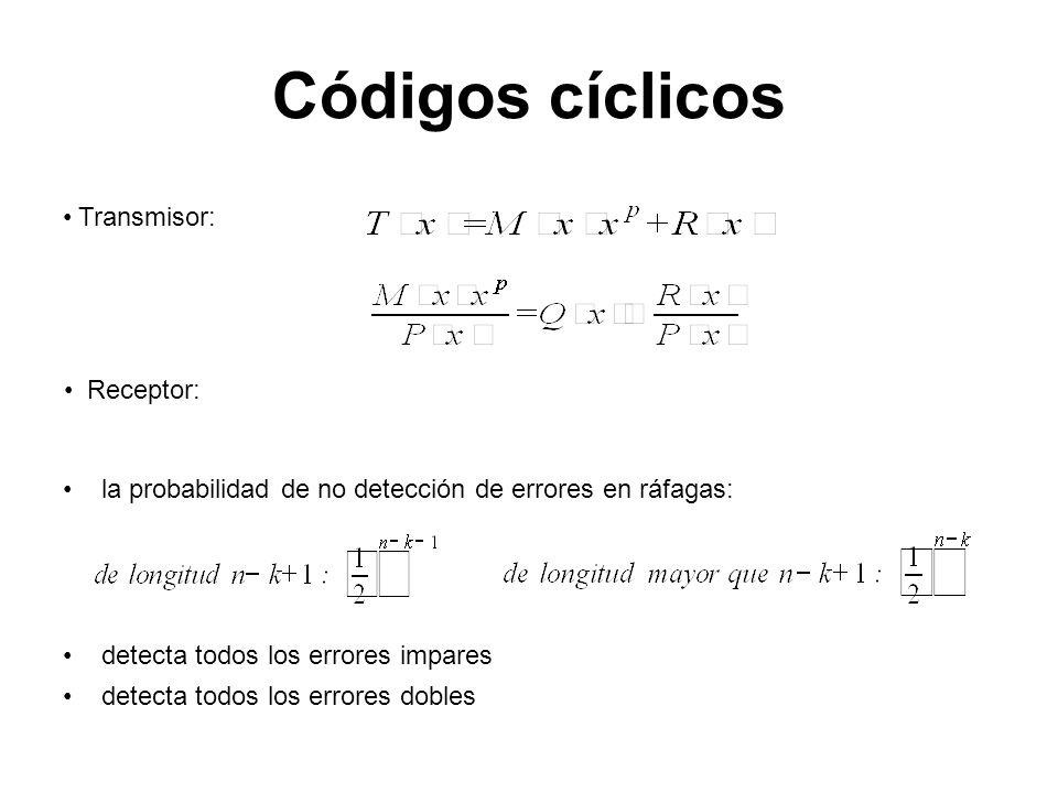 Códigos cíclicos Transmisor: Receptor: