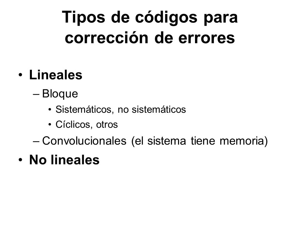 Tipos de códigos para corrección de errores