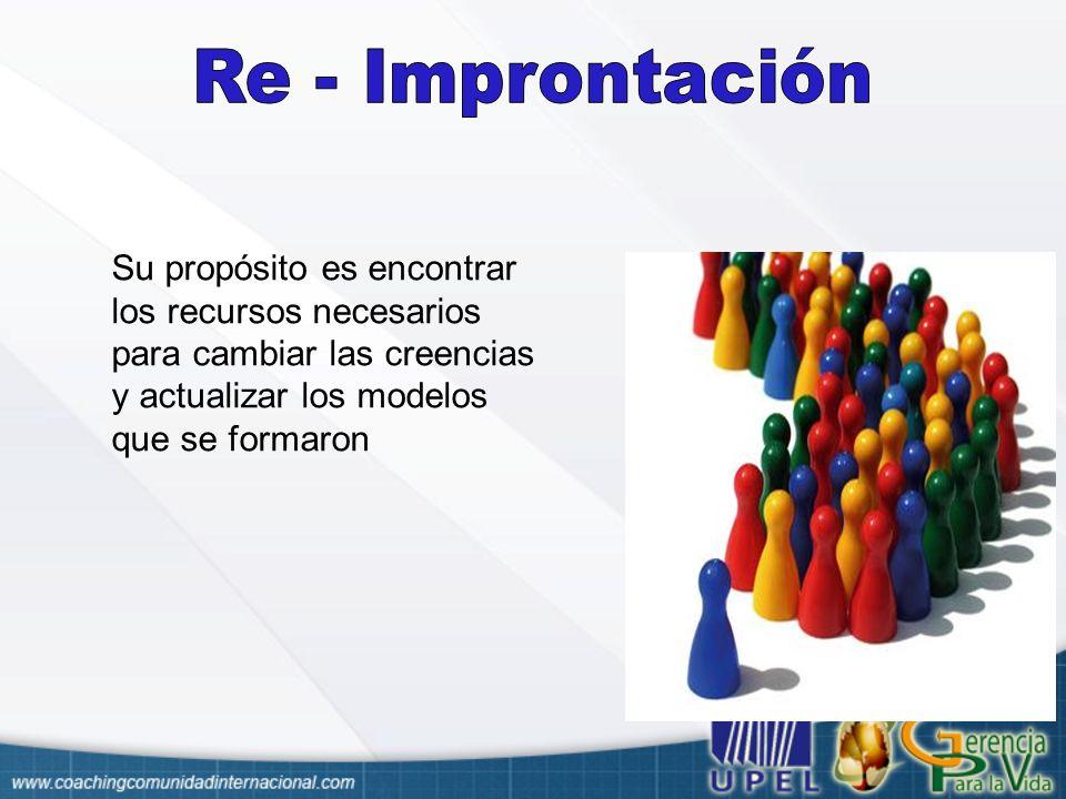 Re - Improntación Su propósito es encontrar los recursos necesarios para cambiar las creencias y actualizar los modelos que se formaron.