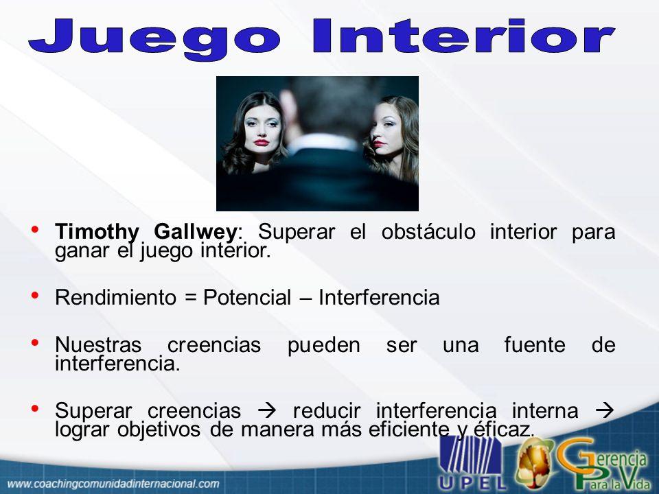 Juego Interior Timothy Gallwey: Superar el obstáculo interior para ganar el juego interior. Rendimiento = Potencial – Interferencia.