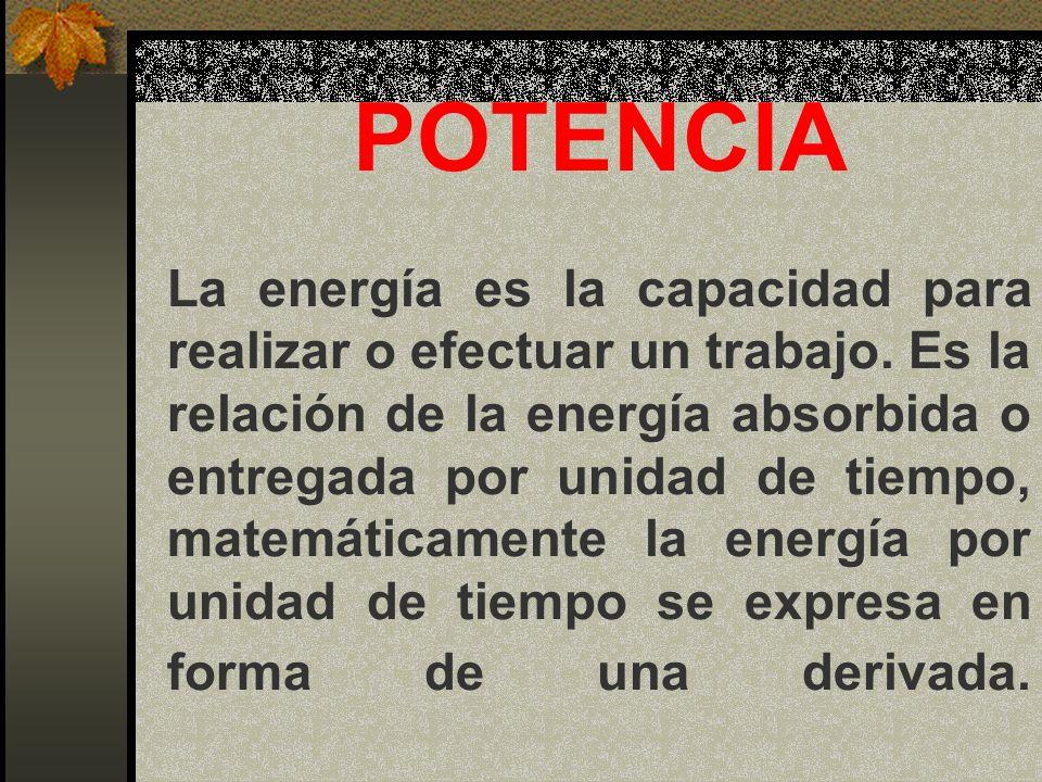 POTENCIA La energía es la capacidad para realizar o efectuar un trabajo.