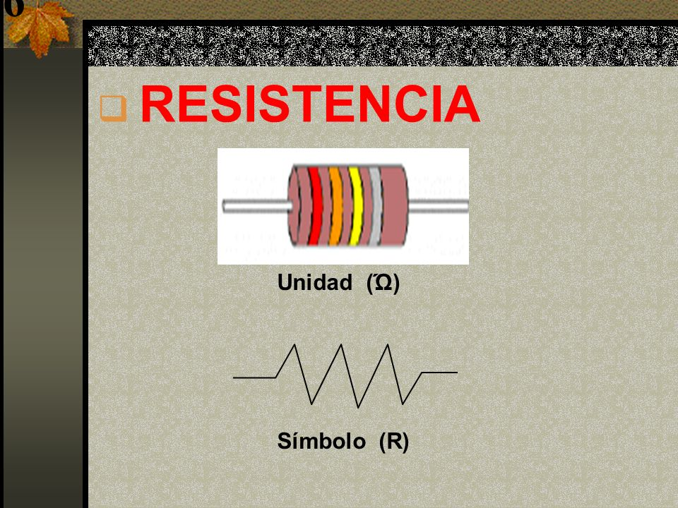 9 RESISTENCIA Unidad (Ώ) Símbolo (R)