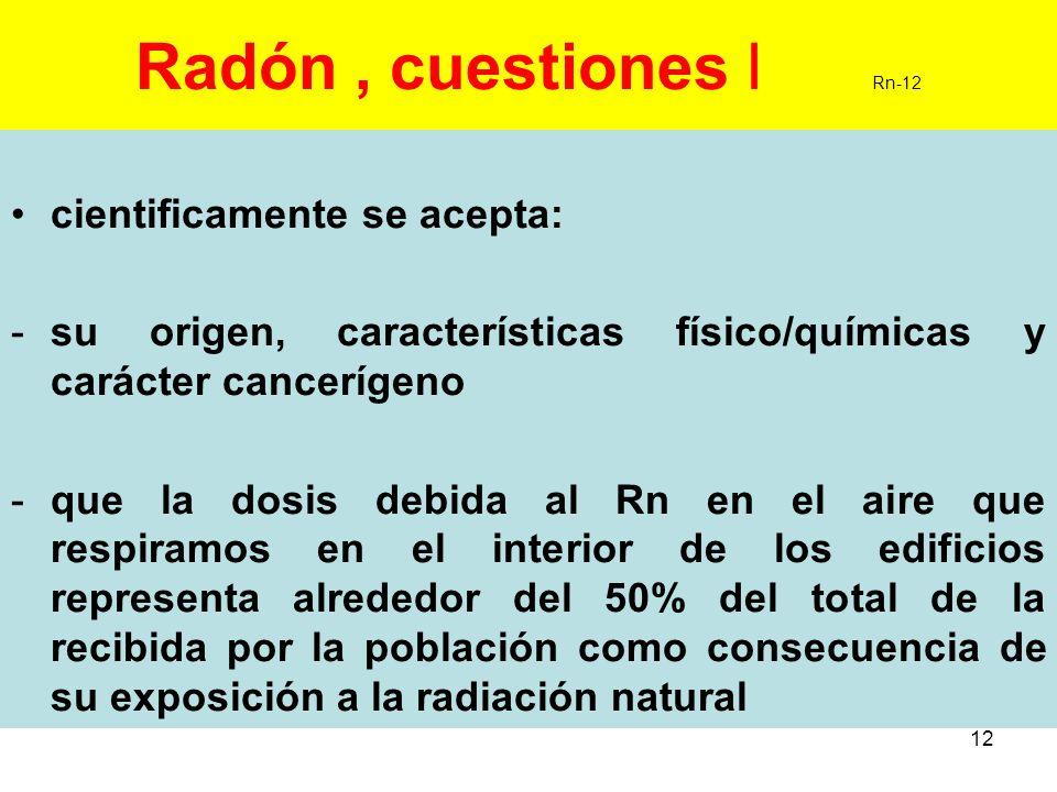 Radón , cuestiones I Rn-12 cientificamente se acepta: