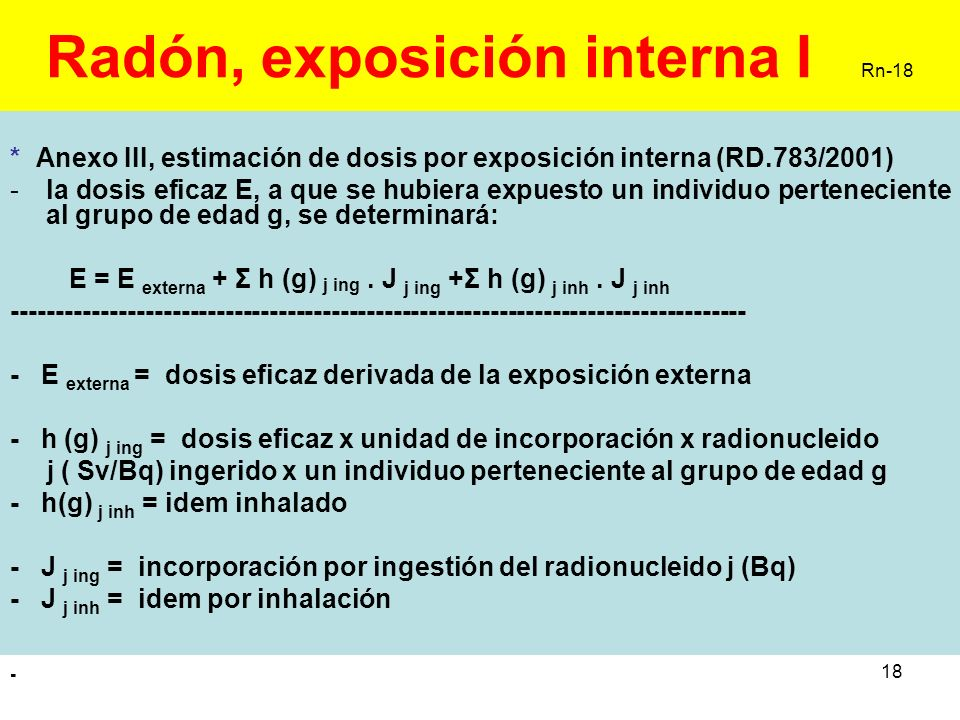 Radón, exposición interna I Rn-18