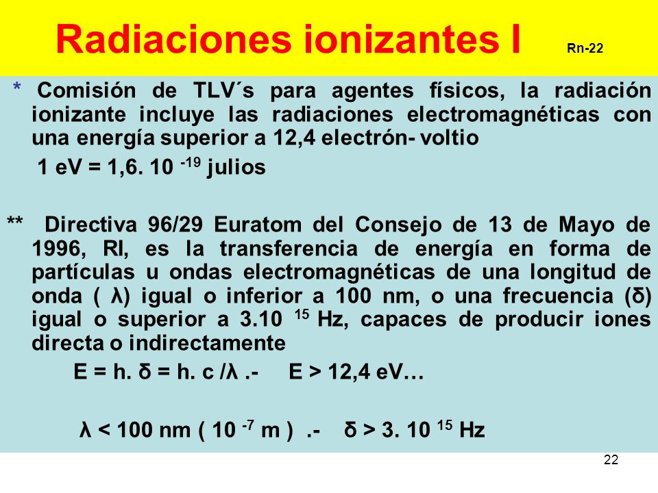 Radiaciones ionizantes I Rn-22