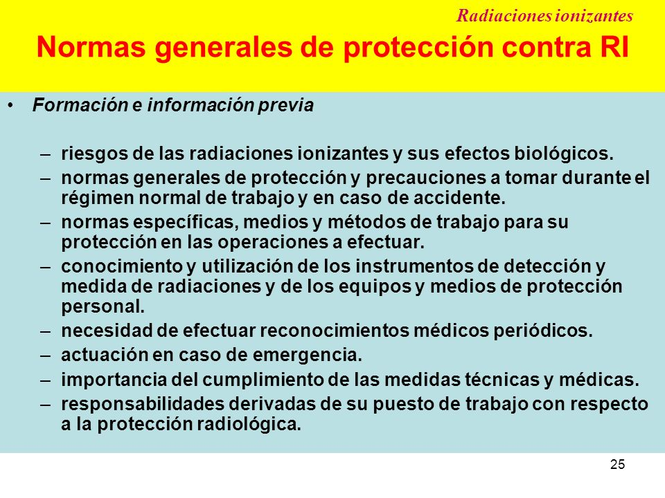 Normas generales de protección contra RI