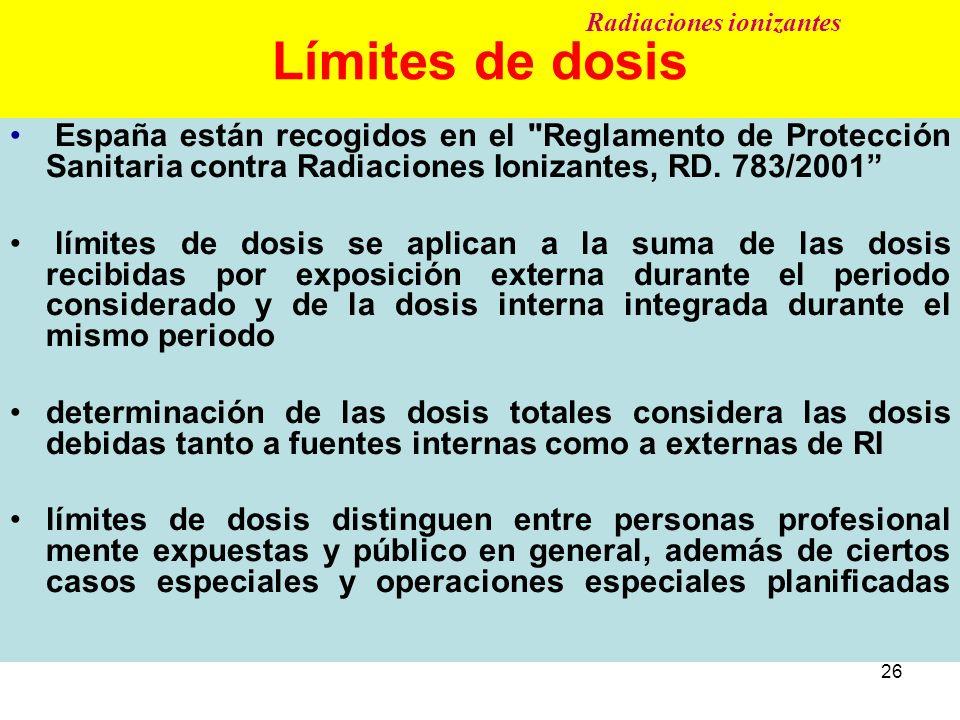 Límites de dosis Radiaciones ionizantes.