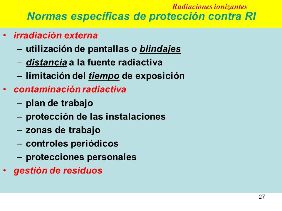 Normas específicas de protección contra RI