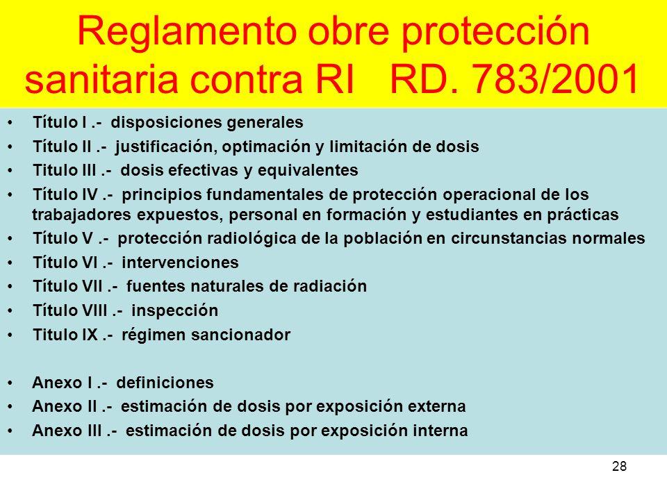 Reglamento obre protección sanitaria contra RI RD. 783/2001