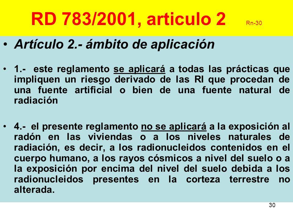 RD 783/2001, articulo 2 Rn-30 Artículo 2.- ámbito de aplicación