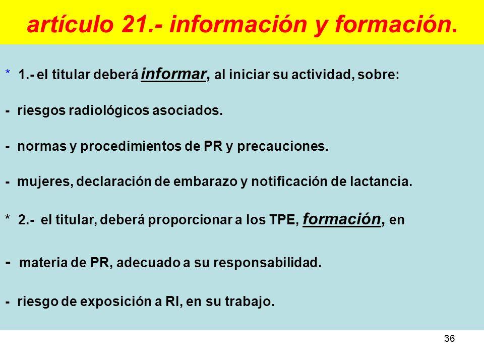 artículo 21.- información y formación.