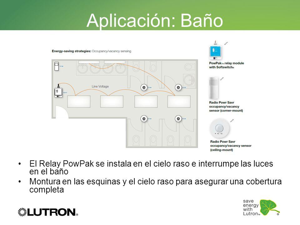 Aplicación: BañoEl Relay PowPak se instala en el cielo raso e interrumpe las luces en el baño.