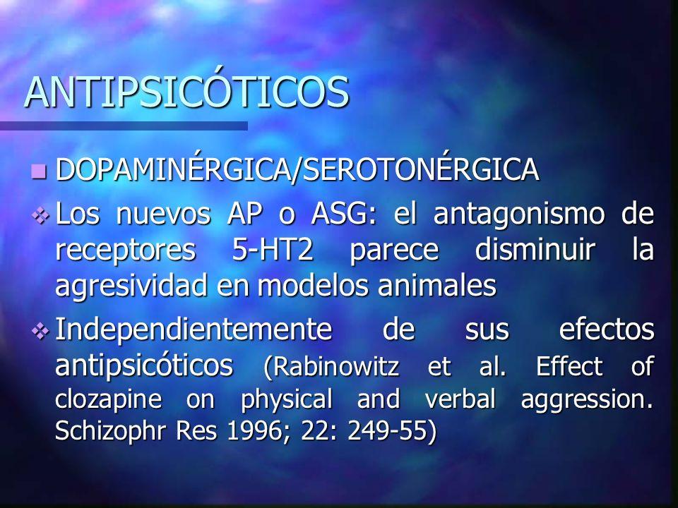 ANTIPSICÓTICOS DOPAMINÉRGICA/SEROTONÉRGICA