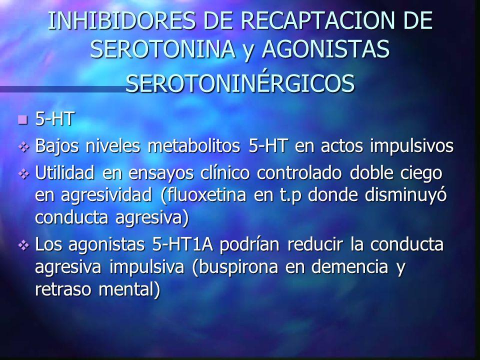 INHIBIDORES DE RECAPTACION DE SEROTONINA y AGONISTAS SEROTONINÉRGICOS