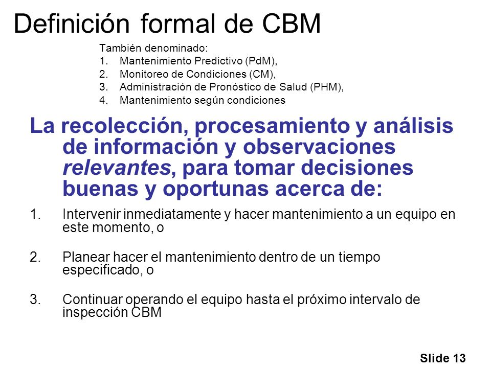 Definición formal de CBM