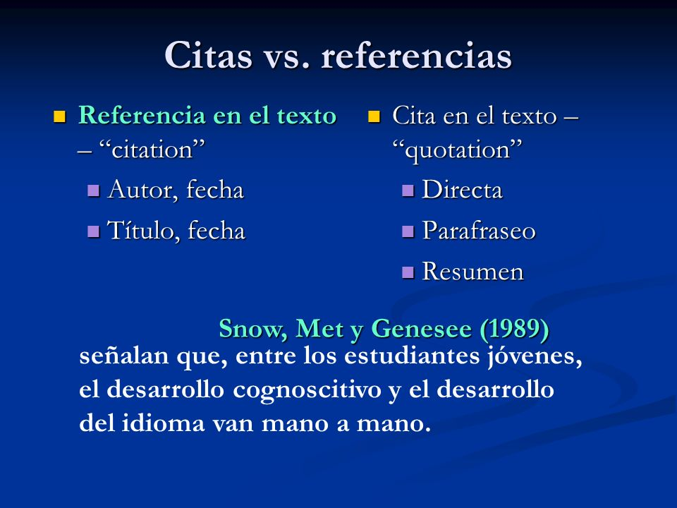 Citas vs. referencias Referencia en el texto – citation Autor, fecha