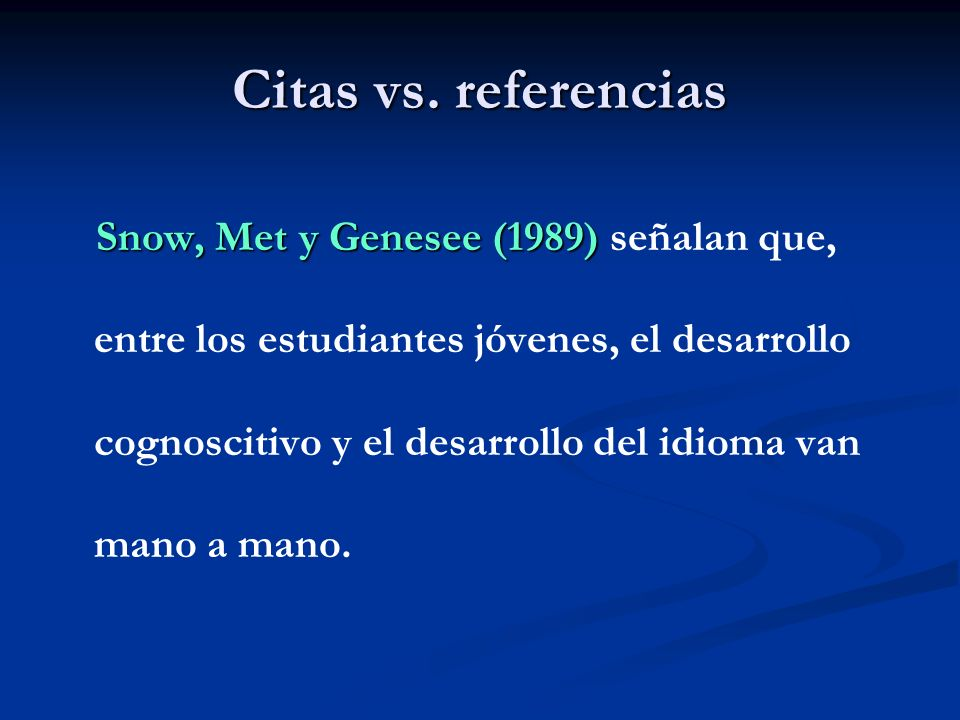 Citas vs. referencias