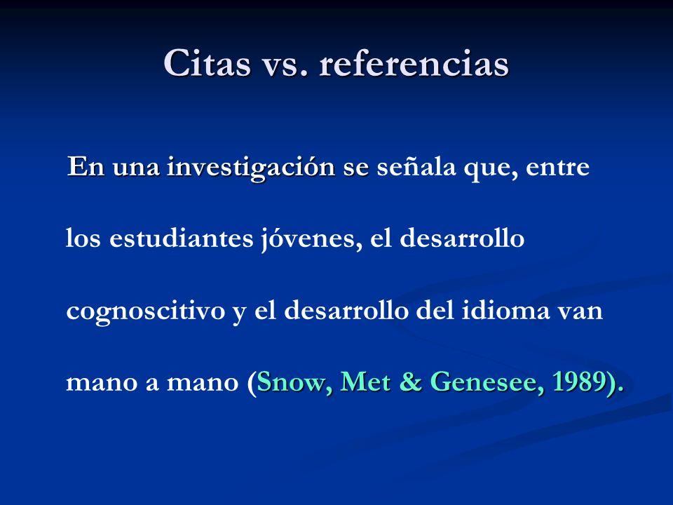 Citas vs. referencias