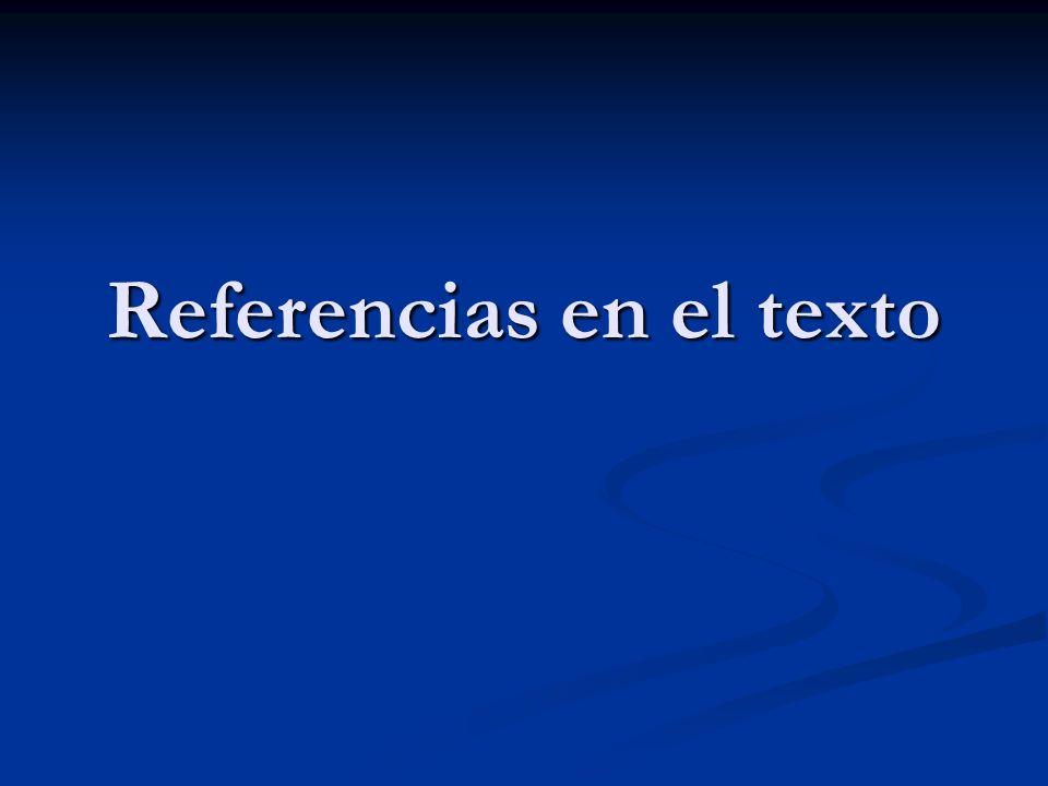 Referencias en el texto