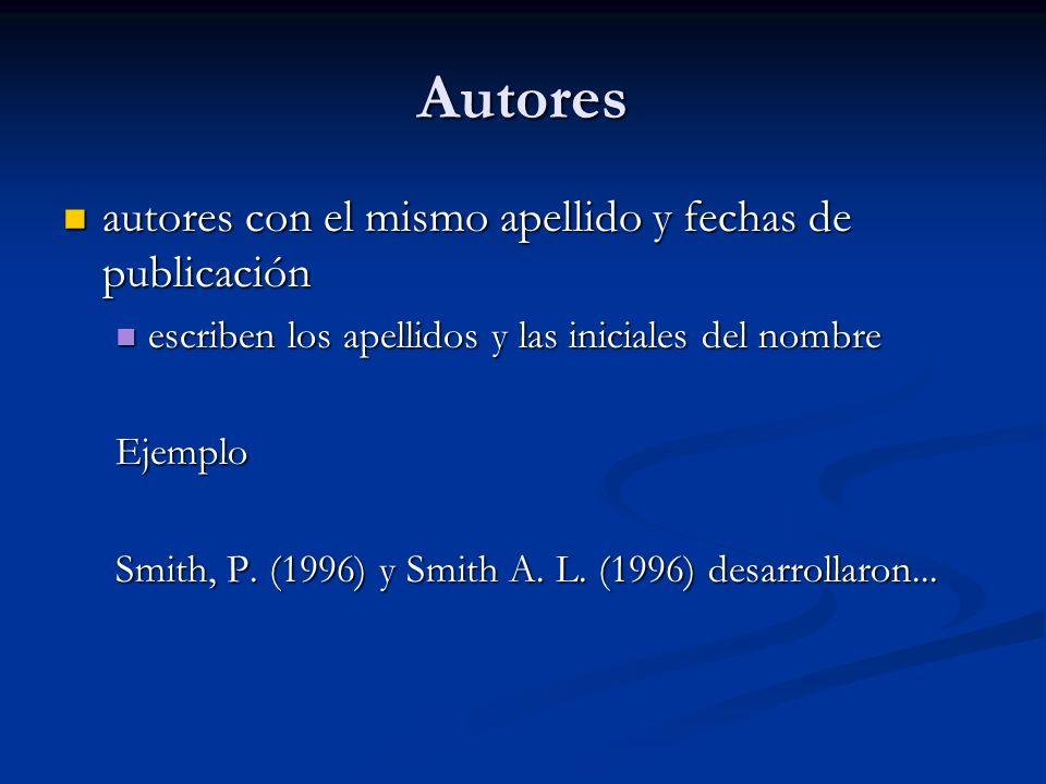 Autores autores con el mismo apellido y fechas de publicación