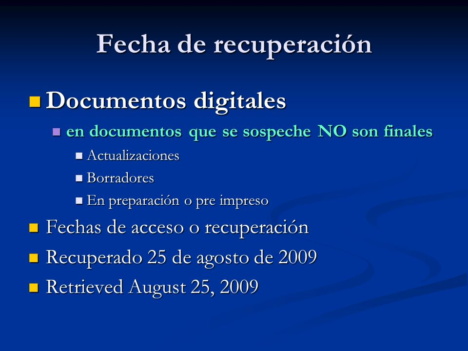 Fecha de recuperación Documentos digitales