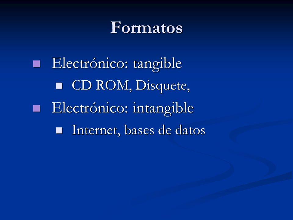 Formatos Electrónico: tangible Electrónico: intangible