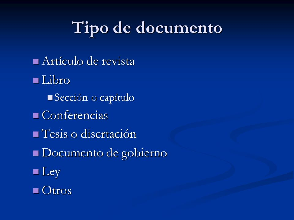 Tipo de documento Artículo de revista Libro Conferencias
