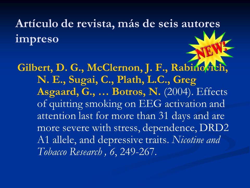 Artículo de revista, más de seis autores impreso