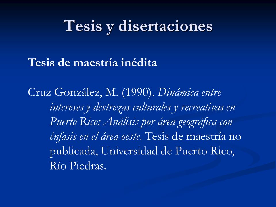 Tesis y disertaciones Tesis de maestría inédita