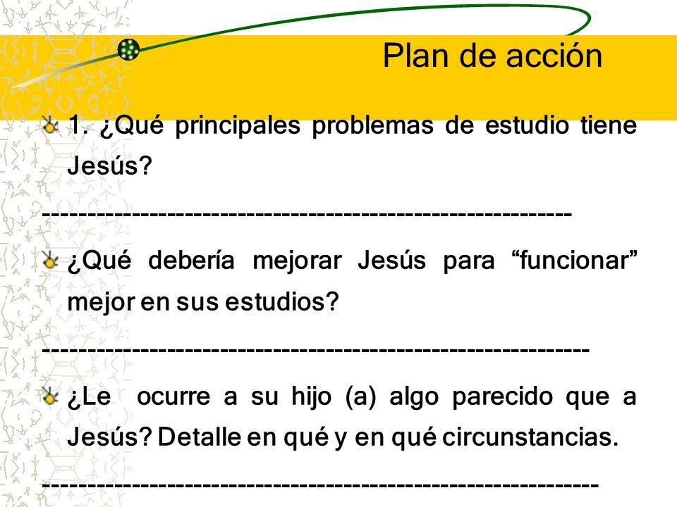 Plan de acción 1. ¿Qué principales problemas de estudio tiene Jesús