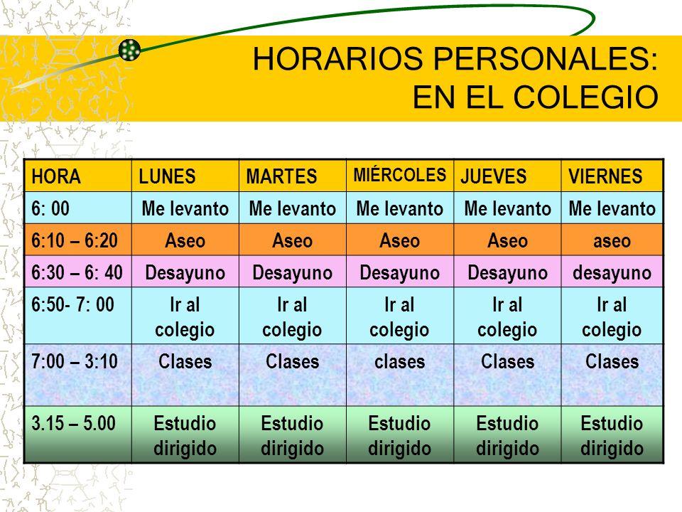 HORARIOS PERSONALES: EN EL COLEGIO