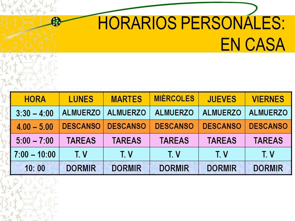 HORARIOS PERSONALES: EN CASA