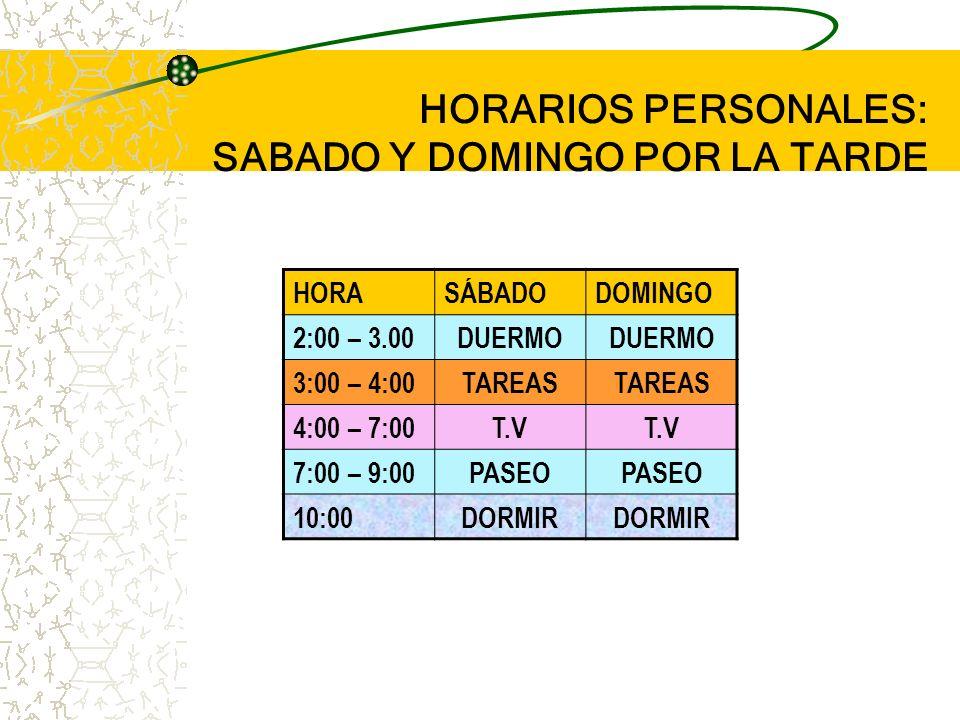 HORARIOS PERSONALES: SABADO Y DOMINGO POR LA TARDE