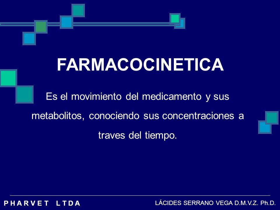FARMACOCINETICA Es el movimiento del medicamento y sus metabolitos, conociendo sus concentraciones a traves del tiempo.