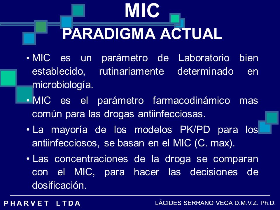 MIC PARADIGMA ACTUAL. MIC es un parámetro de Laboratorio bien establecido, rutinariamente determinado en microbiología.
