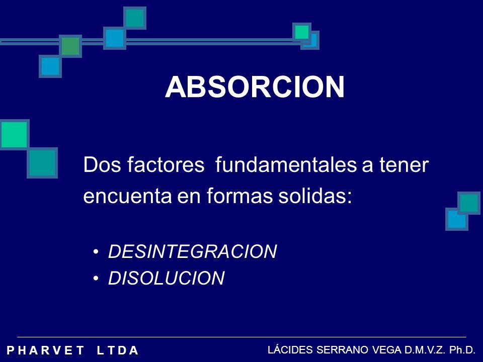 ABSORCION Dos factores fundamentales a tener