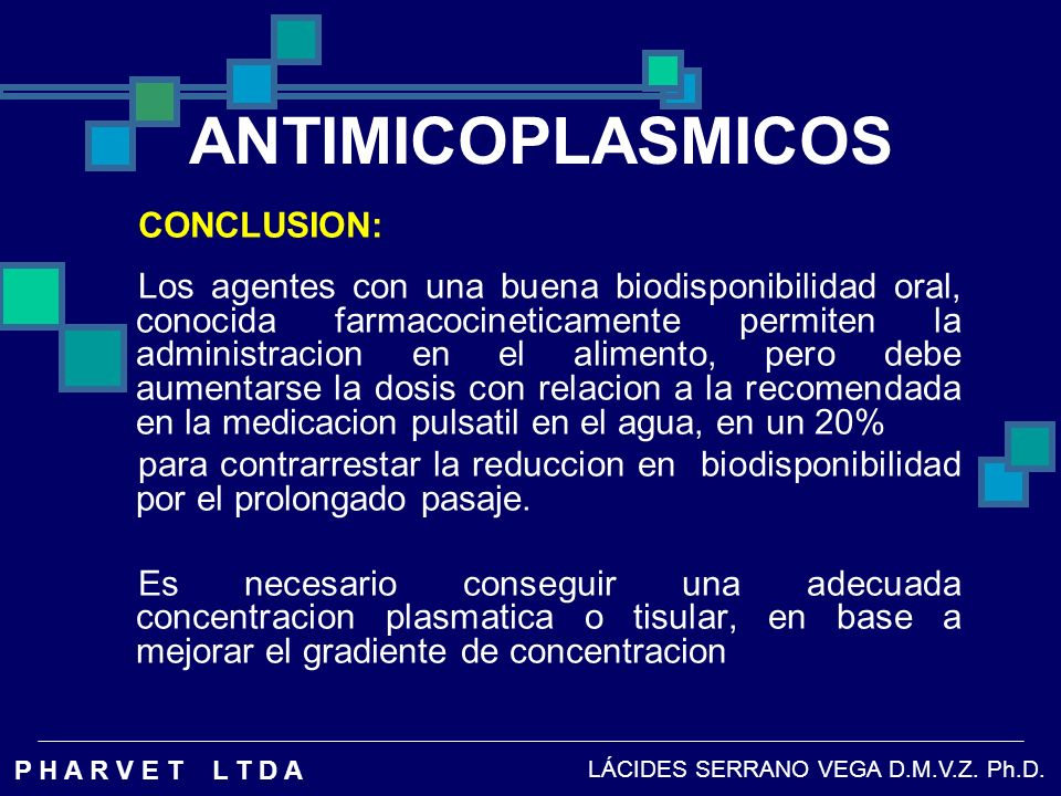 ANTIMICOPLASMICOS CONCLUSION: