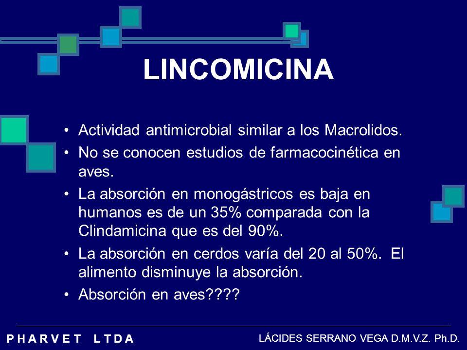LINCOMICINA Actividad antimicrobial similar a los Macrolidos.