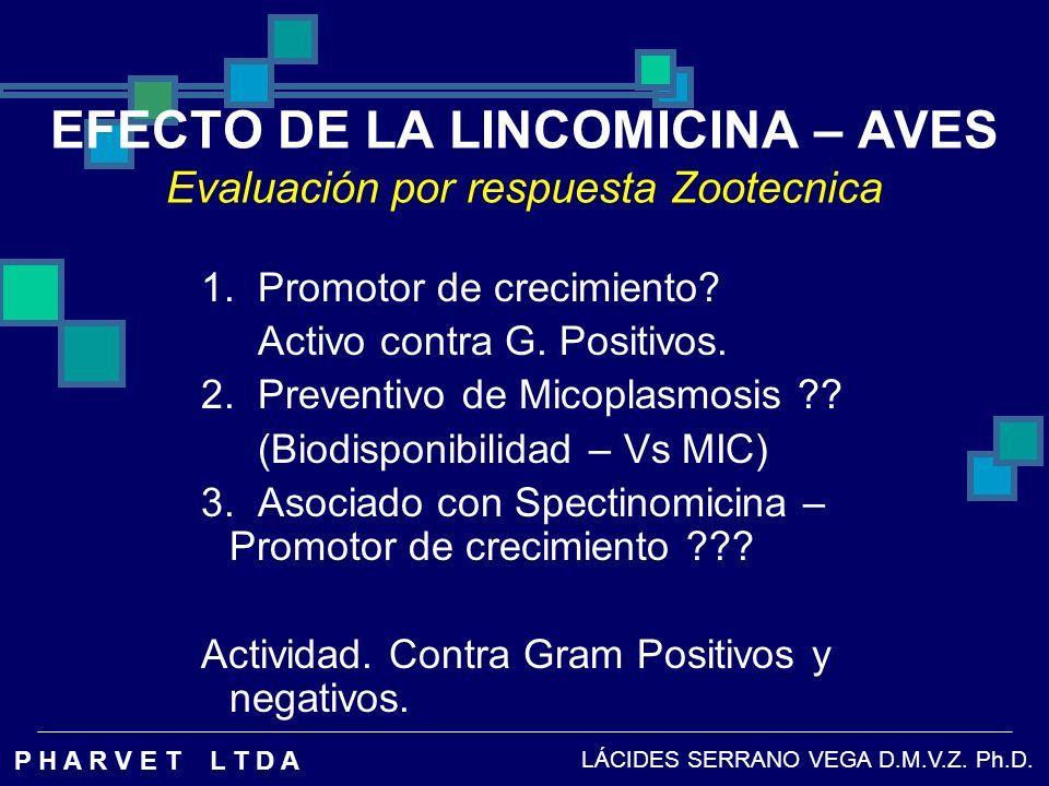 EFECTO DE LA LINCOMICINA – AVES Evaluación por respuesta Zootecnica