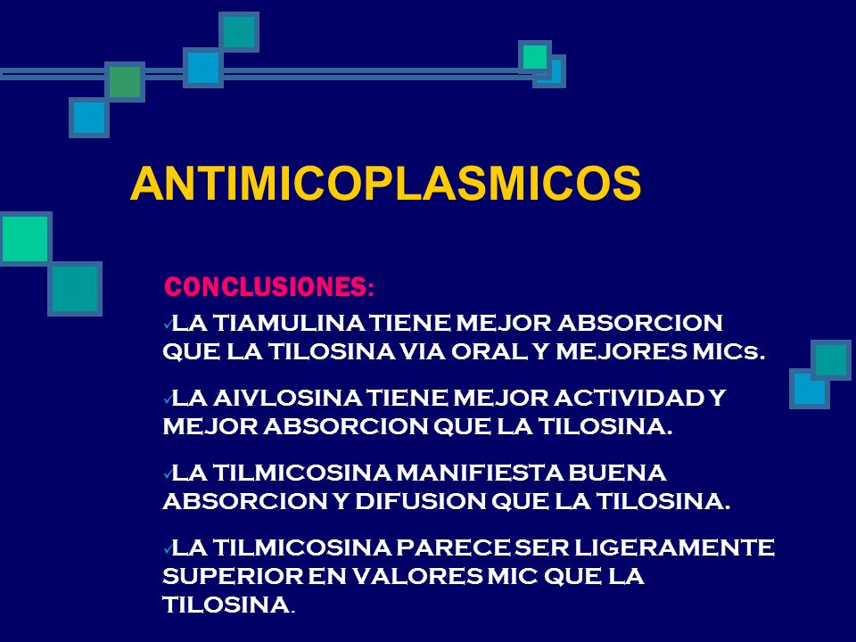 ANTIMICOPLASMICOS CONCLUSIONES: