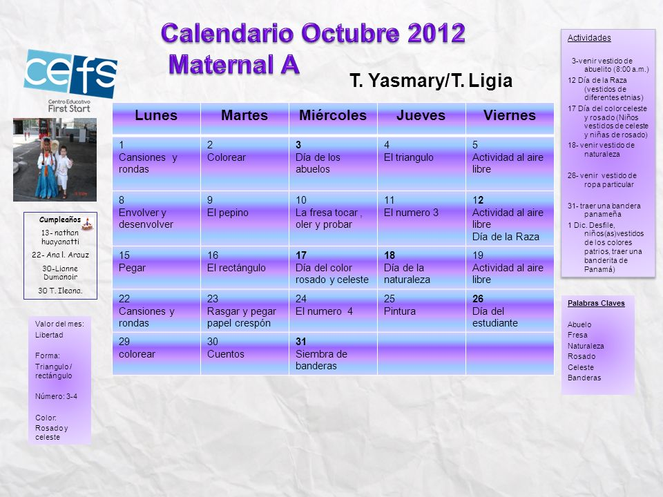 Calendario Octubre 2012 Maternal A T. Yasmary/T. Ligia Lunes Martes