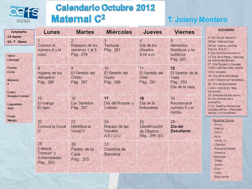 Maternal C2 Calendario Octubre 2012 T. Joleny Montero Lunes Martes