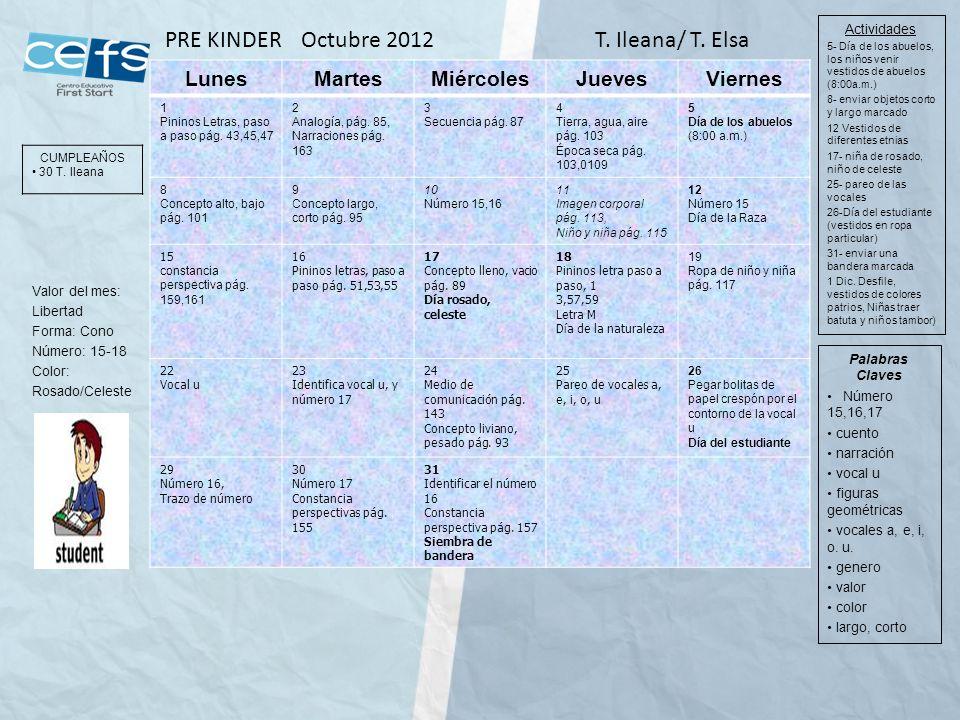 PRE KINDER Octubre 2012 T. Ileana/ T. Elsa Lunes Martes Miércoles