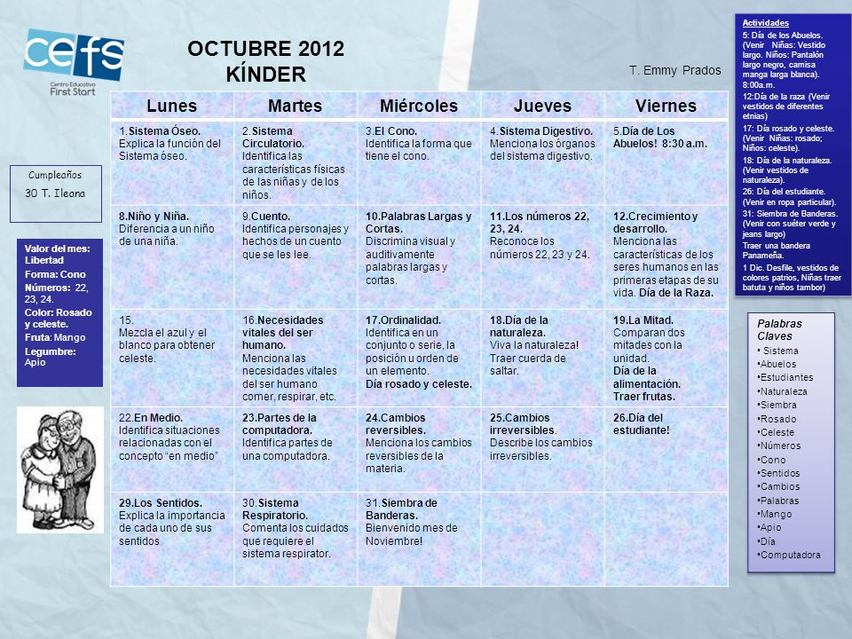 OCTUBRE 2012 KÍNDER Lunes Martes Miércoles Jueves Viernes